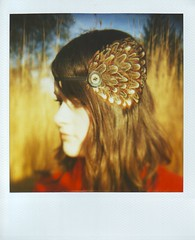(Kate Pulley) Tags: red amanda fall film girl polaroid sx70 sister coat 600 land headband ndfilter balloo thatswhatinamedthiscamera mybluecamera thiswassoldtoafriend