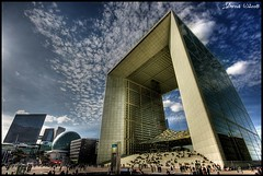 La Dfense  (JArou ) Tags: new travel blue sky paris france architecture clouds canon dramatic center topv222 business hdr ladfense grandearche canon40d