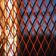 (barbera*) Tags: wood blue red white reflection window glass metal grit grid peeling paint shadows decay screening missinglink ysinembargo 287410