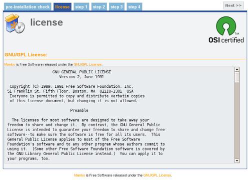 mambo license aggrement