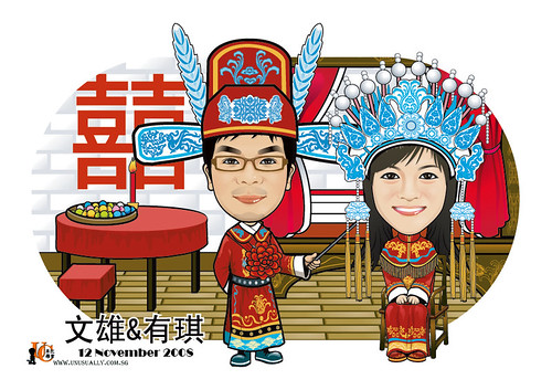 Q-Digital couple traditional Chinese wedding caricatures