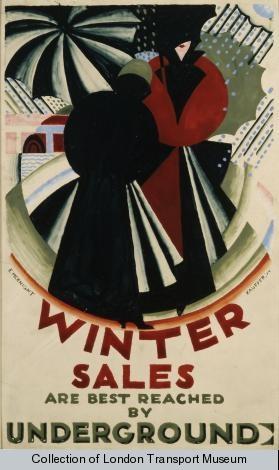 Winter sales are best reached by Underground, by  Edward McKnight Kauffer, 1924