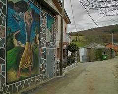 Mural (Natalia Romay Photography) Tags: street trip travel houses wall pared town calle spain nikon mural paint nikond70 pueblo galicia viajes campo casas pintura espana anawesomeshot goldstaraward monseiro