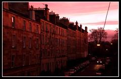 "This is My Sundown (Lynda With a ""Why?"") Tags: street pink autumn winter sunset sky sun cars home beautiful night clouds wow lights evening scotland edinburgh pretty sundown gorgeous scottish headlights flats blocks"