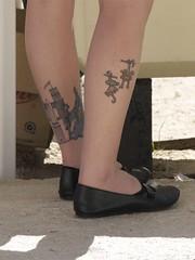 Castle and Monkeys Leg Tattoos (David Schexnaydre) Tags: tattoo topv5555 monkeytattoo castletattoo