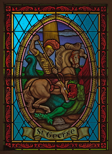 Saint George Roman Catholic Church, in New Baden, Illinois, USA - stained glass window of Saint George