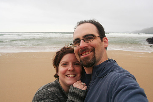 getting blown about on the beach