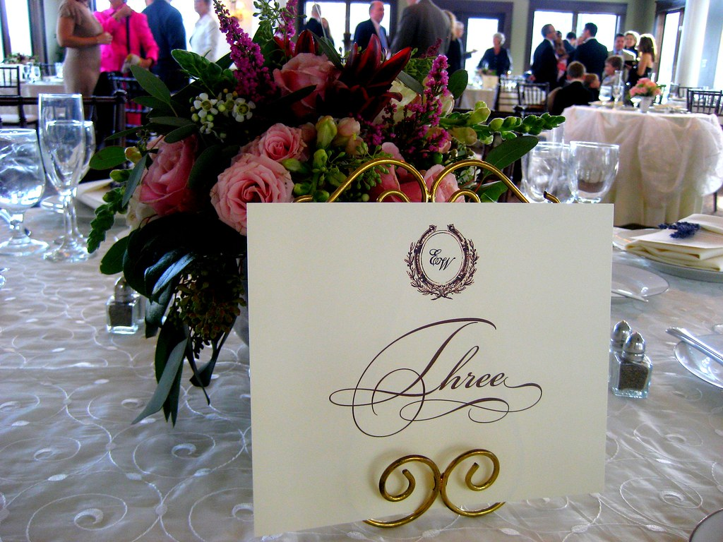 Pink Centerpiece and Table number