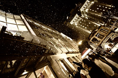 Magic Moment (SHUN [iamtekn]) Tags: sanfrancisco street city winter snow topf25 northerncalifornia sepia night canon mall wonderful shopping geotagged hotel interestingness san francisco downtown magic fake machine bubbles wideangle explore geary surprise cablecar bayarea powell manmade macys norcal moment unionsquare stockton tone shoppers highiso canonefs1022mmf3545usm 50d iso6400 explored canoneos50d canon50d tekn