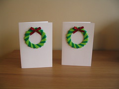 Origami wreath Christmas cards