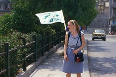 Taina with PASOK flag in 1985