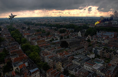Utrecht on fire ((Erik)) Tags: fire utrecht f14 hdr mattepainting fighterplane straaljager 3xp utrechtatwar
