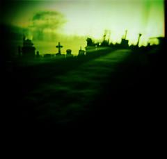 spectre (Andy Welsby) Tags: urban green 120 film cemetery grave graveyard stone fiji mediumformat square landscape dead scotland lomo xpro cross glasgow toycamera lofi plastic velvia diana processed necropolis noplex andywelsby