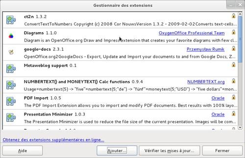 Gestionnaire des extensions - LibreOffice 3.4rc2