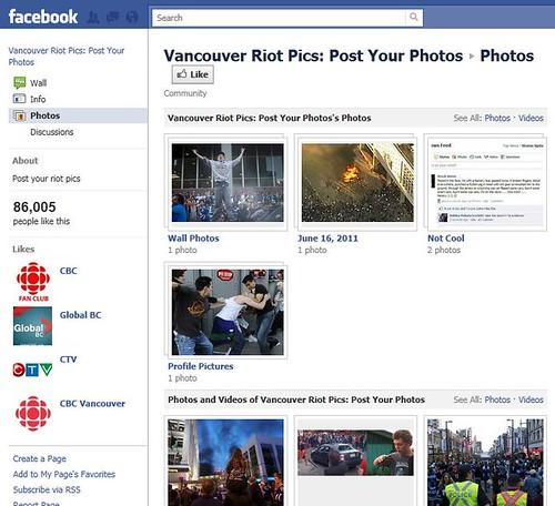 Page Facebook des photos de l'émeute de Vancouver