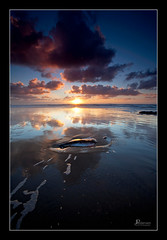 Reflections of Arcadia (jpeder55) Tags: sunset reflection clouds oregon coast sand pacificocean coolblue reflectedlight arcadiabeach jpedersenphotographycom