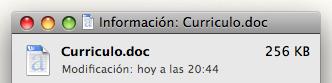Captura de mi currículo en formato DOC, ocupa exactamente 256 KB.