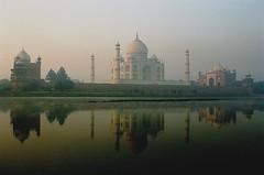 The Taj Mahal at sunrise, Agra, India (iancowe) Tags: morning india mist reflection sunrise river dawn indian taj mahal agra shah jahan mughal mumtaz yamuna