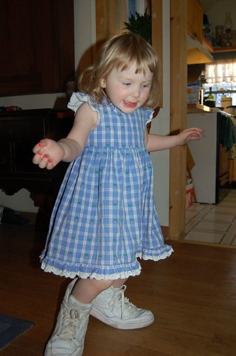 Leda wears a Dress (and Daddy's shoes!)