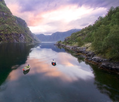 Painting on water (haelio) Tags: norway landscape dawn boat best manip decent waterscape cameracanon350d