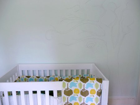 mural sketched on nursery wall
