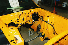 Engine compartment (fatslick70) Tags: orange yellow mercury restoration musclecar 1970cougar