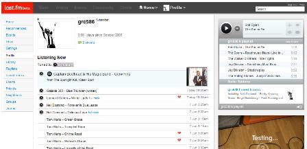 Last.fm profile page