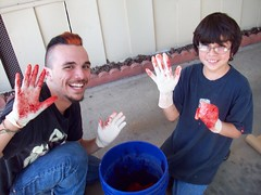 Anthony and Nick (legogrrl4) Tags: birthday red party 60s graduation gloves dye tye