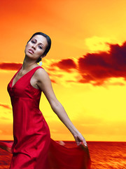 Red sky at Night (maggiedeephotographer) Tags: sunset red girl fashion sunrise femme ad campaign modelling reddress maggiedeephotographer