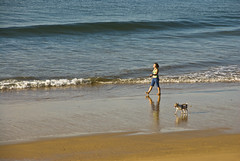 Walking the dog (tanera) Tags: blue dog beach portugal animals sand algarve tidal alvor wwwtaneracouk