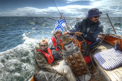 Santtu at the helm (wili_hybrid) Tags: trip travel blue friends sea summer vacation portrait people woman holiday nature water girl smile clouds sailboat geotagged fun denmark outside outdoors photography freedom photo yahoo high interesting nikon europe flickr european waves sailing ship exterior photos sweden outdoor sailors july wolke balticsea explore human journey linda captain wikipedia summertime sailor d200 popular excitement mapping tone hdr humans hdri sailingship santtu karlskrona minttu interestingness6 photomatix flickrexplore tonemapped tonemapping christians year2008 i500verified