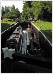 Bower's Lock..27 July 2008 (strussler) Tags: england canon lock gates surrey powershot guildford navigation narrowboat riverwey g9 bowerslock