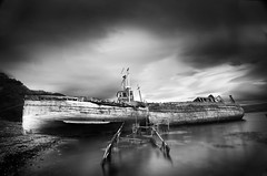 Salen fishing boats; Isle of Mull (Corica) Tags: uk longexposure greatbritain blackandwhite bw water landscape boats scotland boat britain decay gb isleofmull fishingboats mull salen sigma1020mm dapa soundofmull corica dapagroup gruline girlclaire dapagroupmeritaward nikond300 dapagroupmeritaward3 dapagroupmeritaward2 wab2008aug