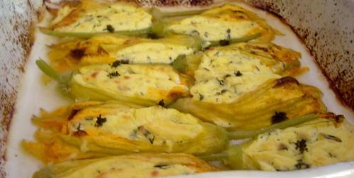 fiori di zucca con formaggio e salsa di limon e miele