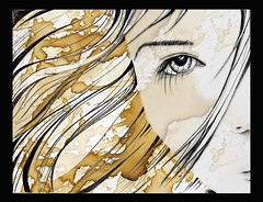 Girl-coffee (SonoftheMoon) Tags: art girl beauty face illustration hair graphic aye