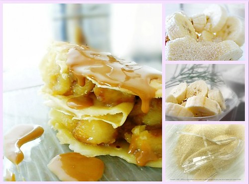 Caramel banana crepes