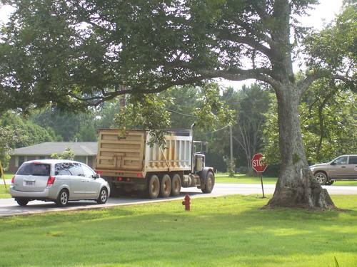 Dump truck at corner