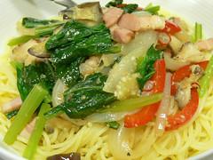 夏野菜のスパゲティ丼
