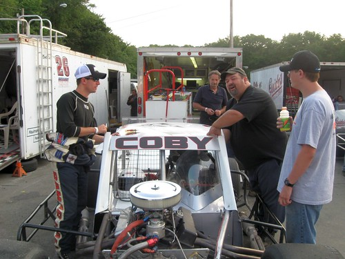 Doug Coby and the crew working on the #10 SK Modified.
