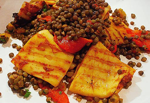 Squid with Lentils and Preserved Lemon