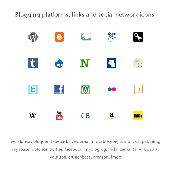 Icon set: Popular Blogging platforms, links, social networks.