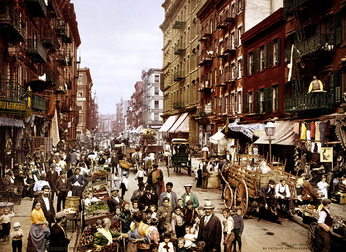 Mulberry Street market, Little Italy, 1900