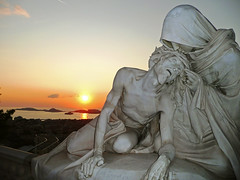 dying sunset (ssj_george) Tags: leica sunset sea sky sun france art statue lumix marseille europe christ jesus panasonic 1001nights dying combination lastbreath abigfave aplusphoto tz3 notredamedelagare jesusdying