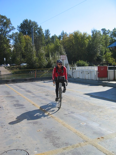 Don riding his bike on the ferry