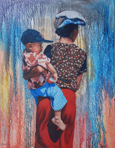 Hill Tribe of Myanmar series 16, by Tin Win, mixed media, 90x120cm