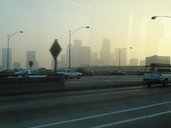 Downtown LA skyline from bus (ashbrian) Tags: 2005 losangeles downtown worldtrip