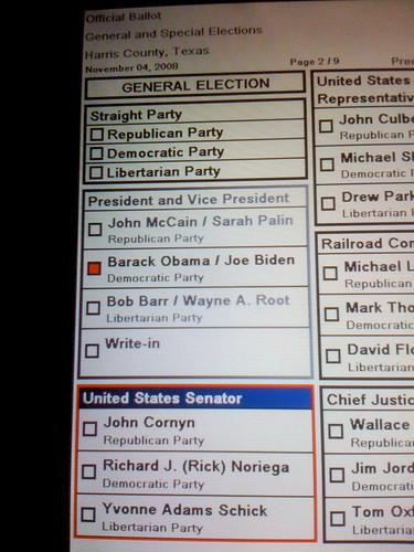 2008 Election Ballot