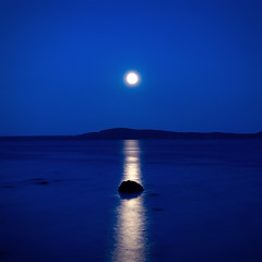 moon reflections on blue (H o g n e) Tags: ocean longexposure blue sea summer moon seascape motion color colour reflection beach water norway night dark landscape coast colorful horizon shoreline explore shore silence moonlight oslofjord horten vestfold smoothwater karljohansvern explored bildekritikk silkwater