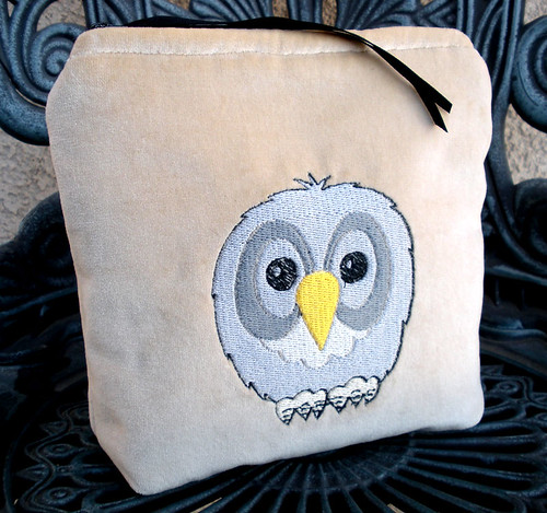 Little Grey Owl Embroidered Makeup/Zipper Pouch