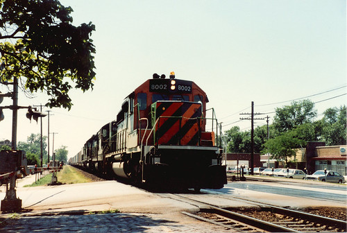 Eastbound Burlington Northern freight train. Berwyn Illinois. July 1985. by Eddie from Chicago